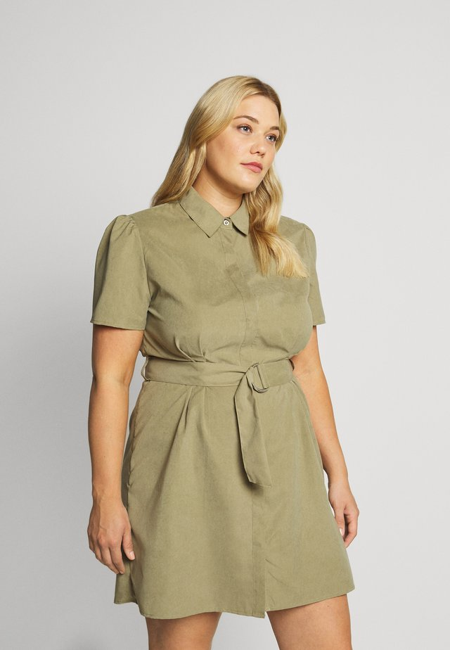 GATHERED WAIST BELTED DRESS - Shirt dress - khaki
