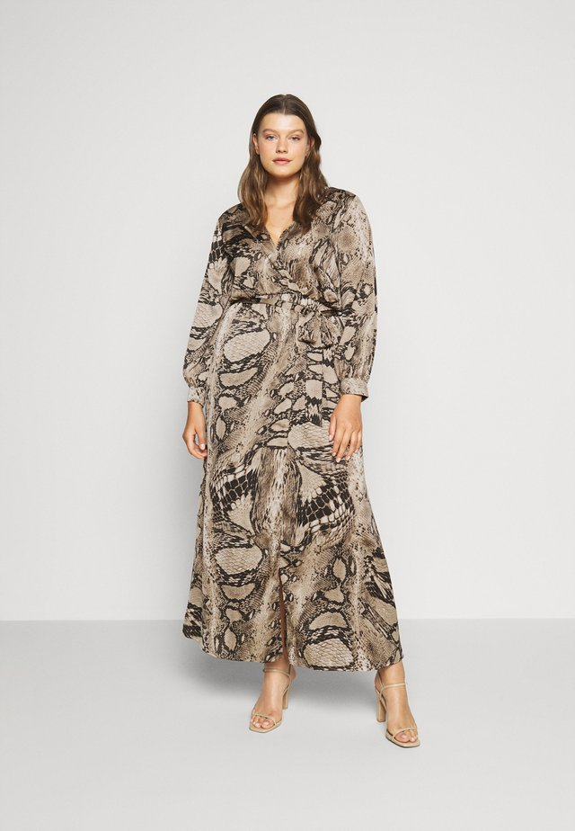 PLUS SIZE PLUNGE SNAKE PRINT - Robe d'été - brown