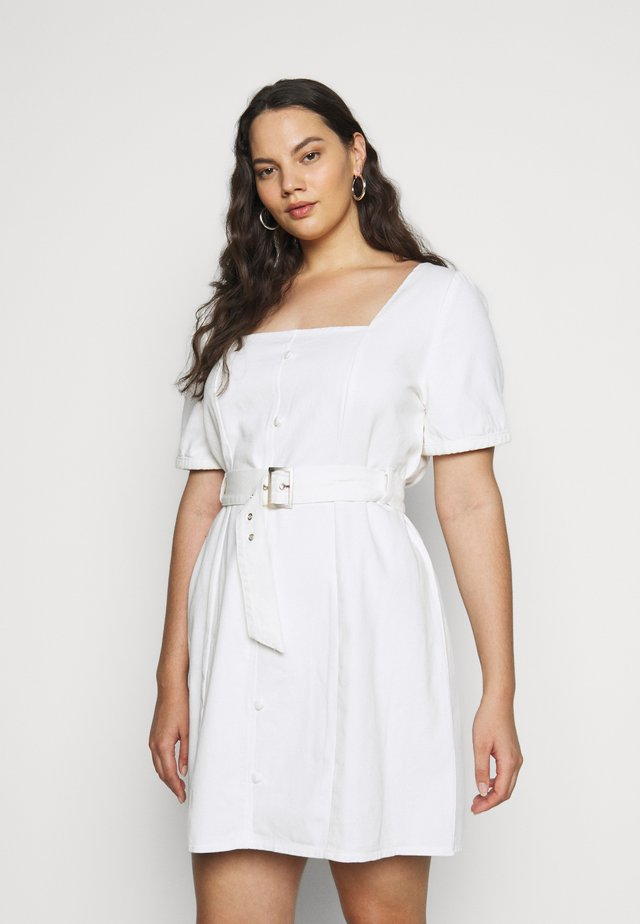 PLUS SELF BELTED PUFF SLEEVE MINI - Freizeitkleid - white