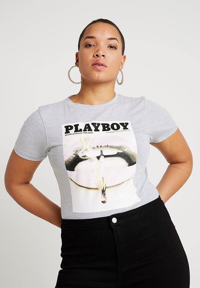 Missguided Plus - PLAYBOY SLOGAN HIGH NECK BODYSUIT - T-shirts print - grey