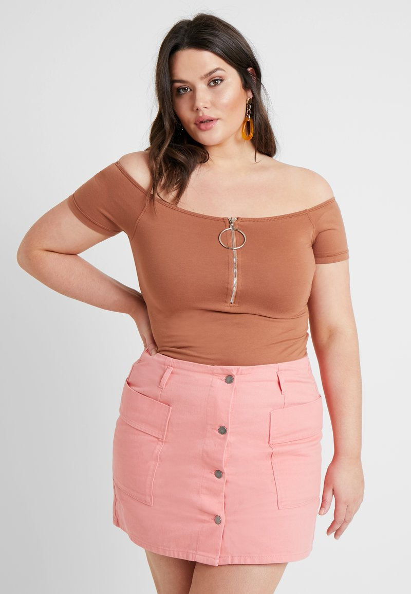Missguided Plus - BARDOT ZIP FRONT - Top - brown