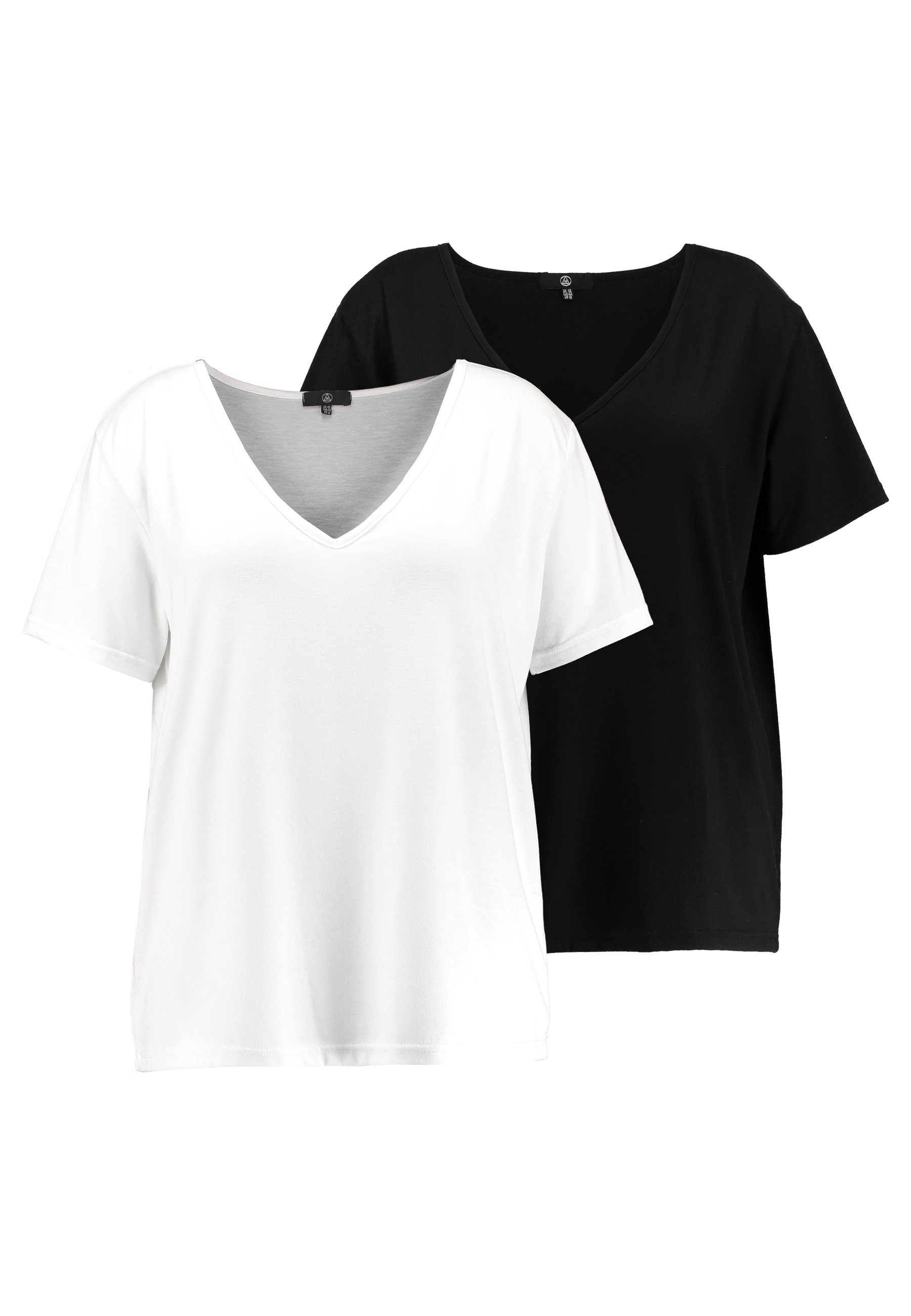 Missguided Plus CURVE V NECK 2 PACK - T-shirts med print - white/black