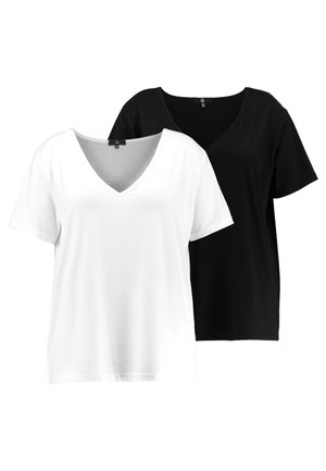 CURVE V NECK 2 PACK - T-shirts med print - white/black