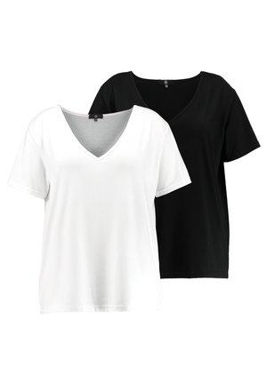 CURVE V NECK 2 PACK - T-shirt imprimé - white/black