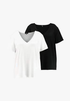 CURVE V NECK 2 PACK - T-shirt imprimé - white/black