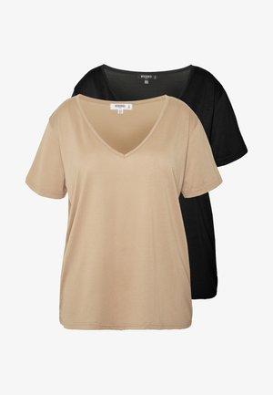 CURVE V NECK 2 PACK - Camiseta estampada - black/camel