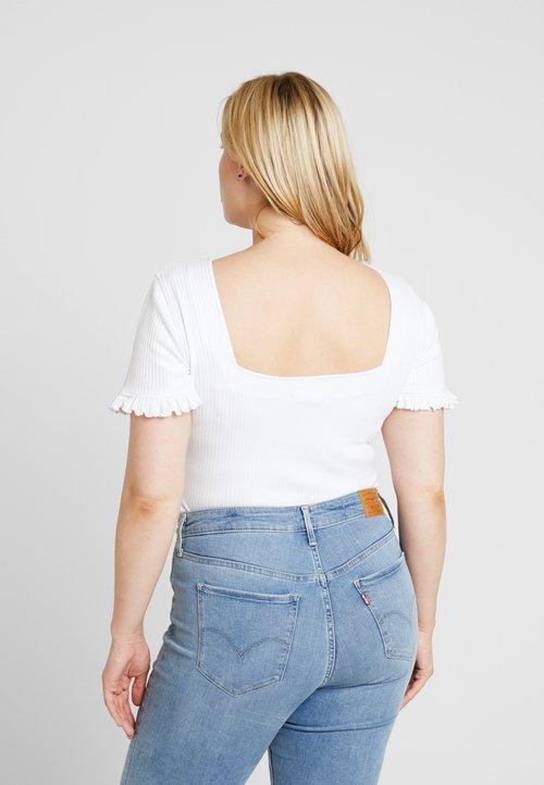 Missguided Plus LACE UP MILKMAID BODYSUIT - T-shirt z nadrukiem - white Koszulki i Topy ORZB-BL5 gorąca wyprzedaż w 2019 roku