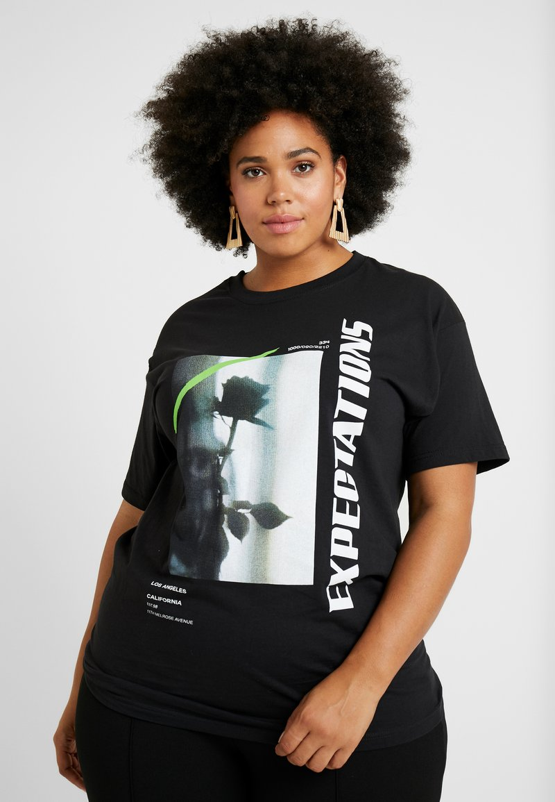 Missguided Plus - EXPECTATIONS GRAPHIC - T-Shirt print - black