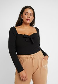 Missguided Plus - MILKMAID LONG SLEEVE - Longsleeve - black - 0