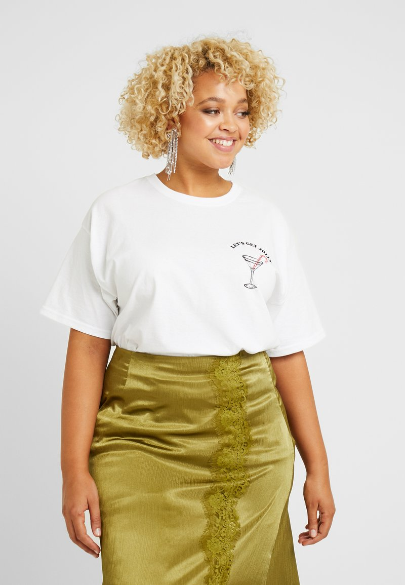 Missguided Plus - CHRISTMAS JOLLY GRAPHIC  - T-shirts print - white