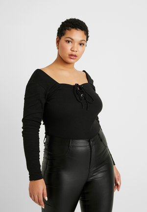 PLUS SIZE LONG SLEEVE MILKMAID BODYSUIT - Longsleeve - black