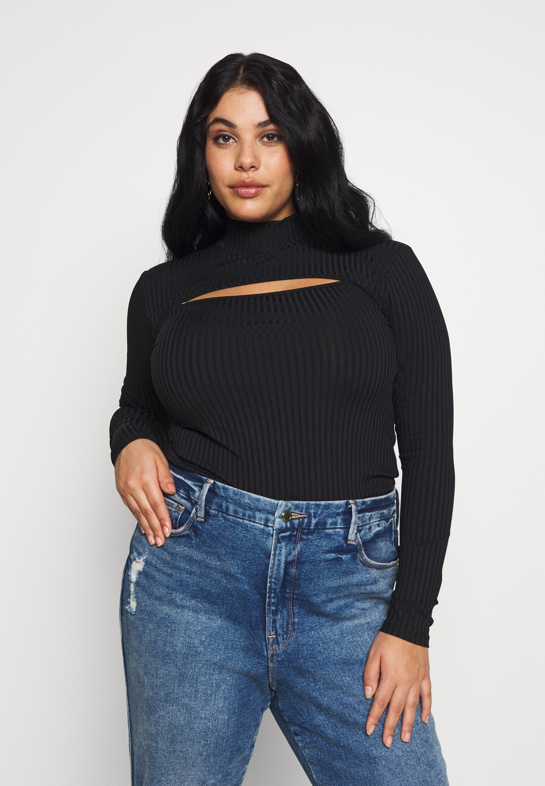 Missguided Plus HIGH NECK LONG SLEEVE  - Topper langermet - black