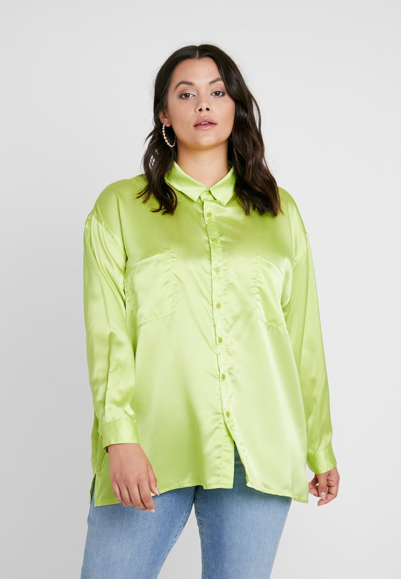 Missguided Plus - CURVE DOUBLE POCKET OVERSIZED - Hemdbluse - lime