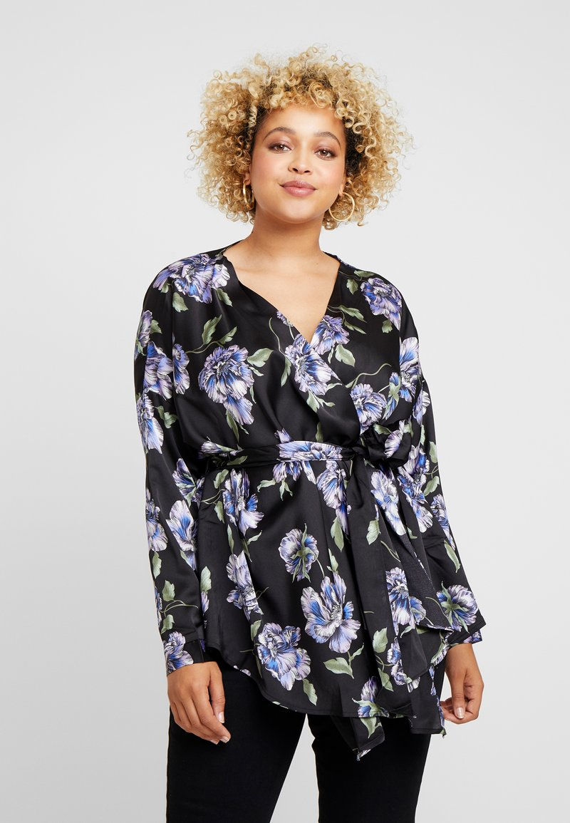 Missguided Plus - CURVE BELTED LONGLINE BLOUSE - Camicetta - black
