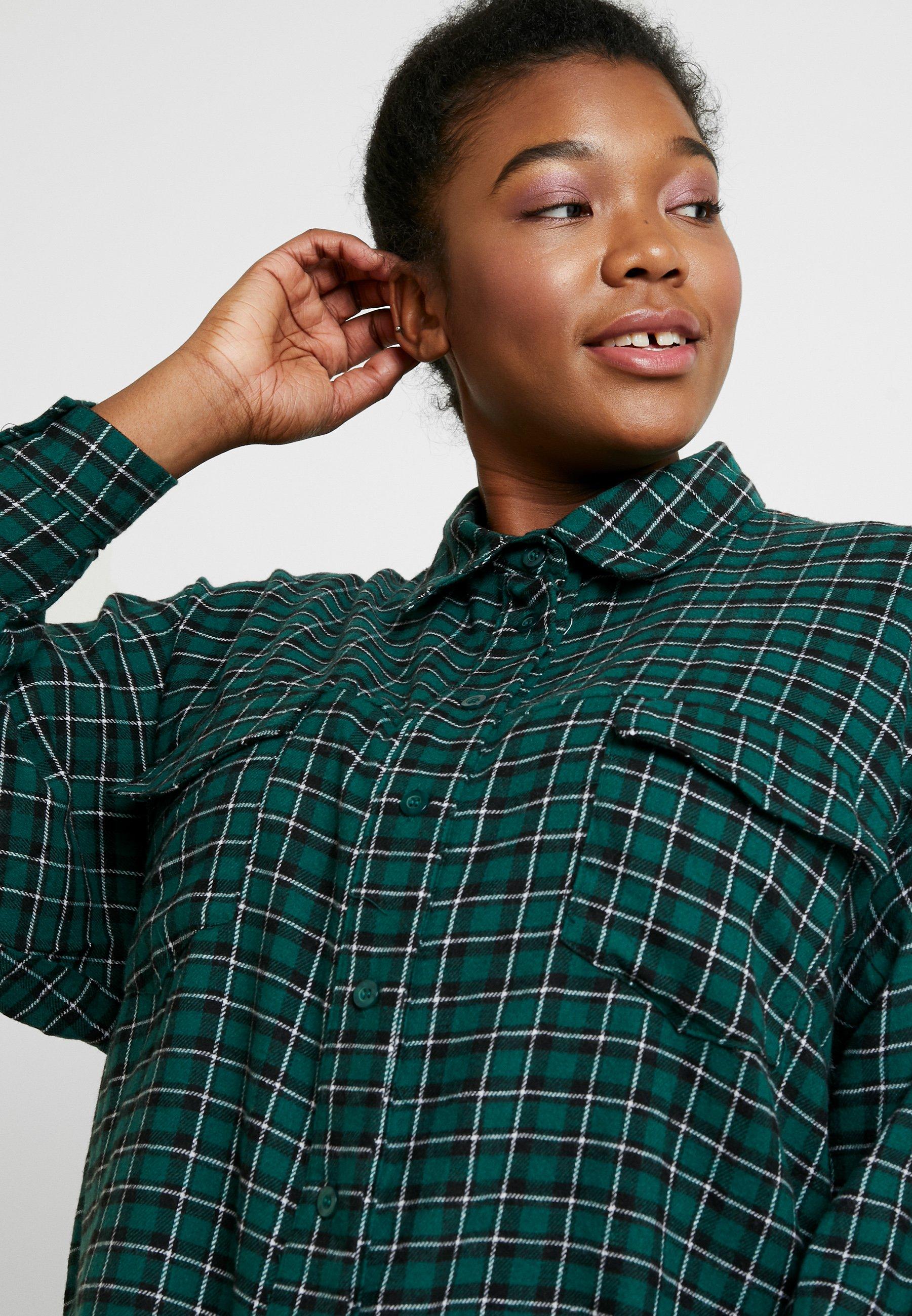Missguided Plus OVERSIZED CHECK SHIRT - Koszula - green