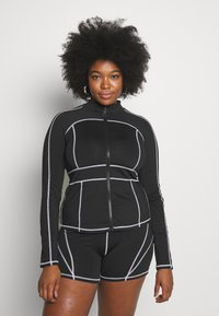Missguided Plus - CONTRAST PANEL LONG SLEEVE - Cardigan - black - 0