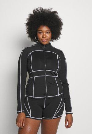 CONTRAST PANEL LONG SLEEVE - Vest - black