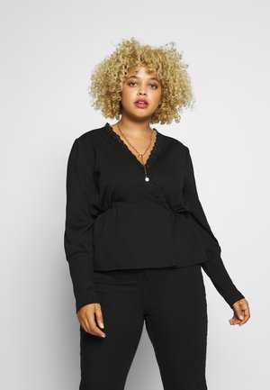 TEXTURED PEPLUM TOP WITH PUFF SLEEVES - Camiseta de manga larga - black