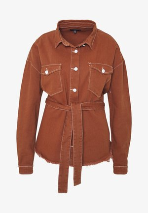 CONTRAST STITCH BUTTON UP FRAYED BELTED - Košile - brown