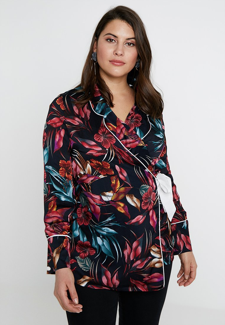 Missguided Plus - CURVE FLORAL WRAP OVER JACKET - Bluser - red