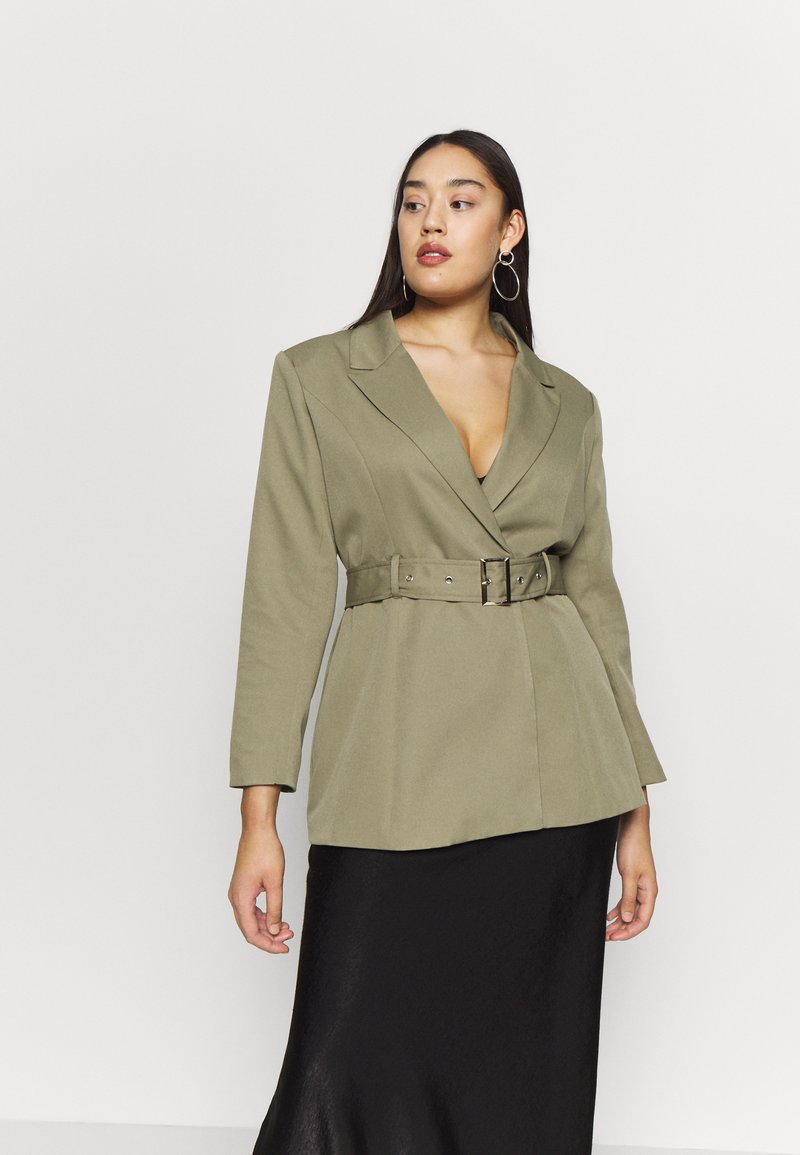 Missguided Plus - BELTED TAILORED JACKET - Short coat - mint
