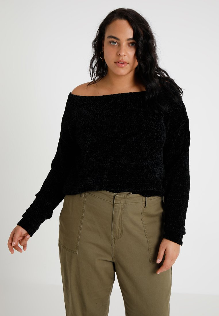 Missguided Plus - CURVEOFF THE SHOULDER LUXE JUMPER - Strickpullover - black