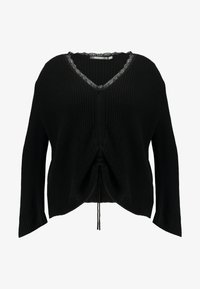 Missguided Plus - TRIM RUCHED FRONT JUMPER - Strikkegenser - black - 4