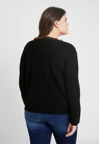Missguided Plus - TRIM RUCHED FRONT JUMPER - Strikkegenser - black - 2