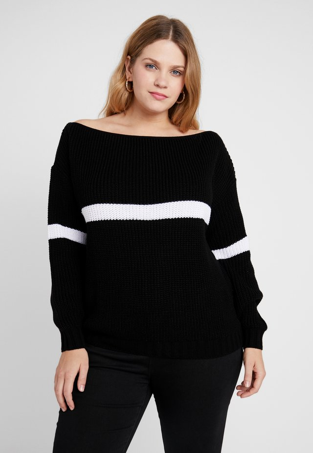 STRIPE OVERSIZED JUMPER - Strikkegenser - black