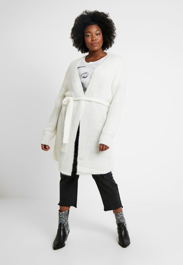 FLUFFY BALLOON SLEEVE CARDIGAN WITH BELT - Cardigan - cream