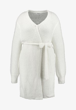 FLUFFY BALLOON SLEEVE CARDIGAN WITH BELT - Strickjacke - cream