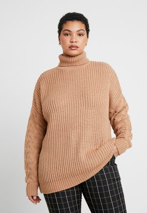 ROLL NECK CABLE SLEEVE - Pullover - camel