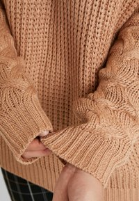 Missguided Plus - ROLL NECK CABLE SLEEVE - Jumper - camel - 5