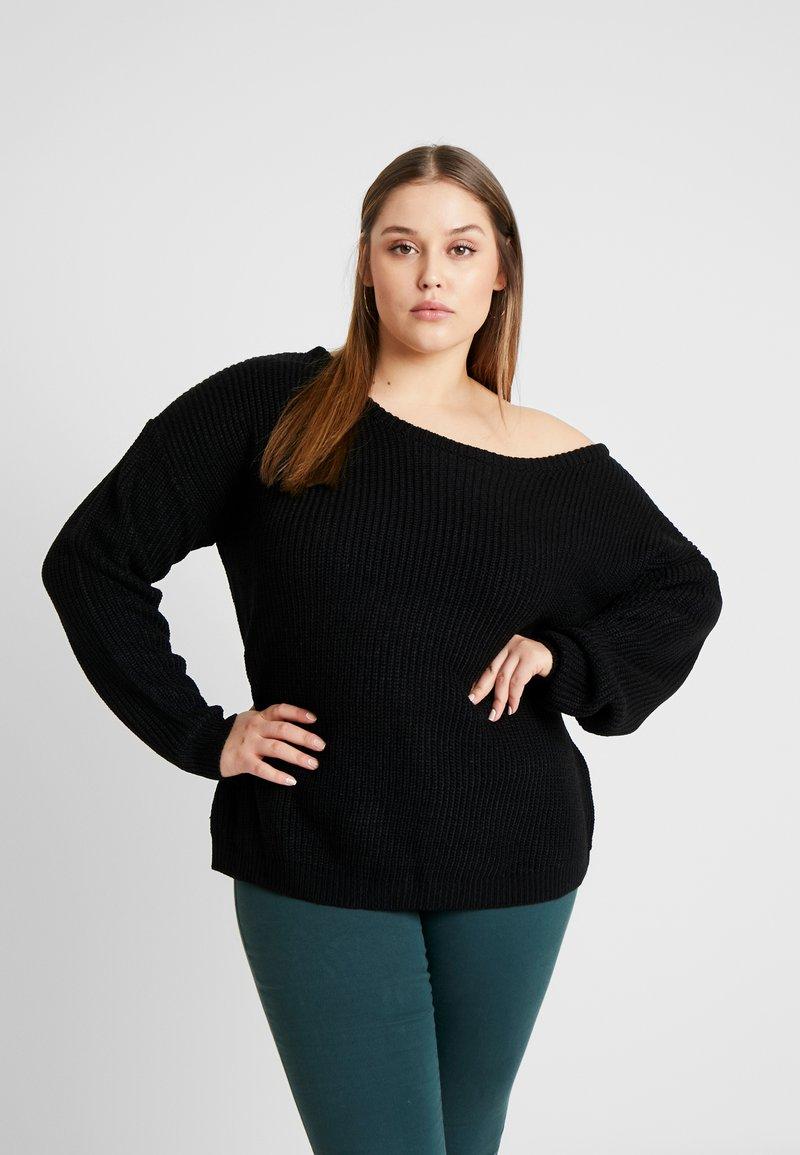Missguided Plus - CURVE OFF SHOULDER JUMPER - Pullover - black