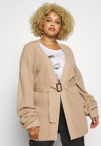 Missguided Plus - BELTED CARDIGAN - Cardigan - oatmeal - 0