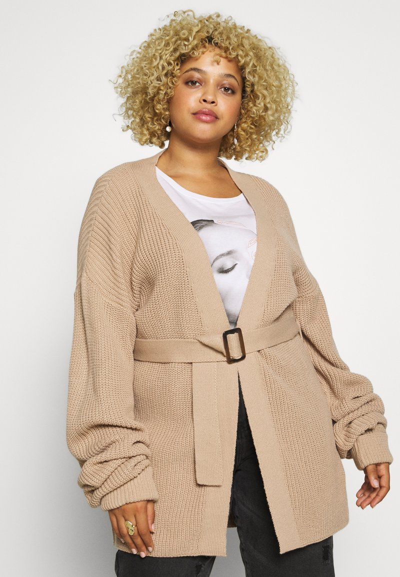 Missguided Plus - BELTED CARDIGAN - Cardigan - oatmeal