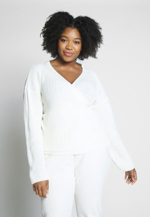 EXCLUSIVE BELTED WRAP FRONT - Strickjacke - cream