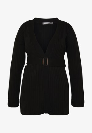 EXCLUSIVE RESIN BELTED - Cardigan - black