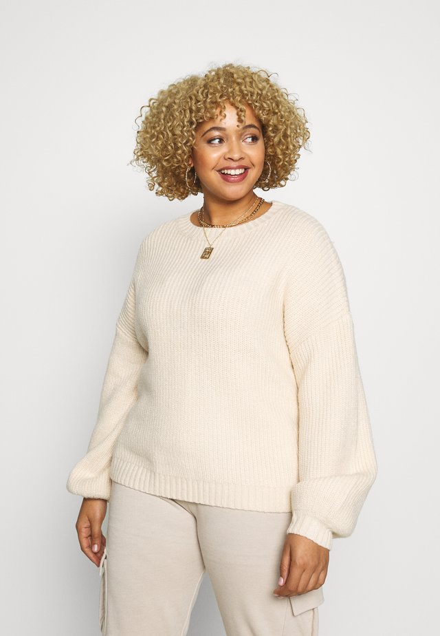 EXCLUSIVE CREW NECK BALLOON SLEEVE JUMPER - Sweter - cream