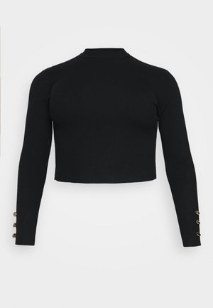 BUTTON CUFF CREW NECK - Svetr - black