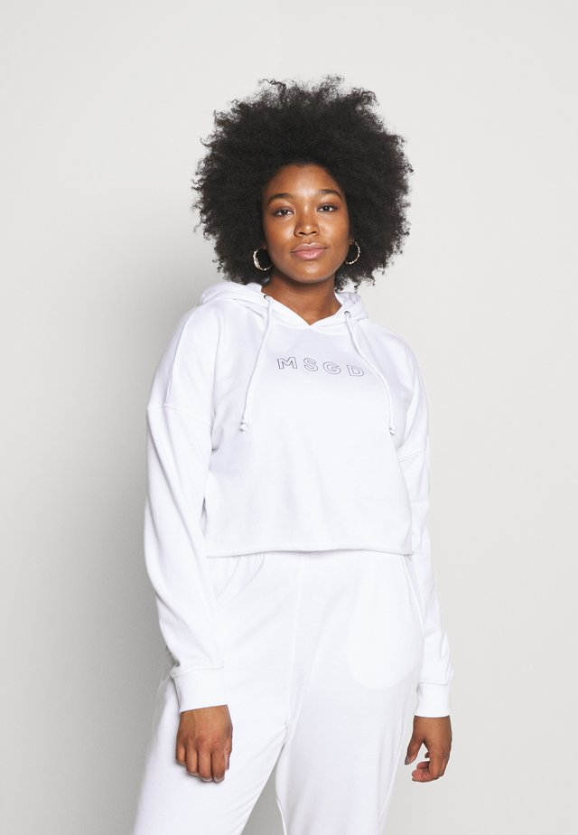 CROPPED HOODIE - Bluza z kapturem - white