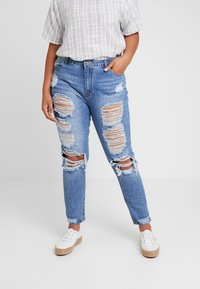 Missguided Plus - RIOT DISTRESSED - Džíny Slim Fit - blue - 0