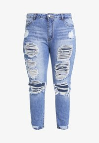 Missguided Plus - RIOT DISTRESSED - Džíny Slim Fit - blue - 3