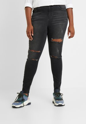 SINNER RIP HIGH WAIST - Jeansy Skinny Fit - black