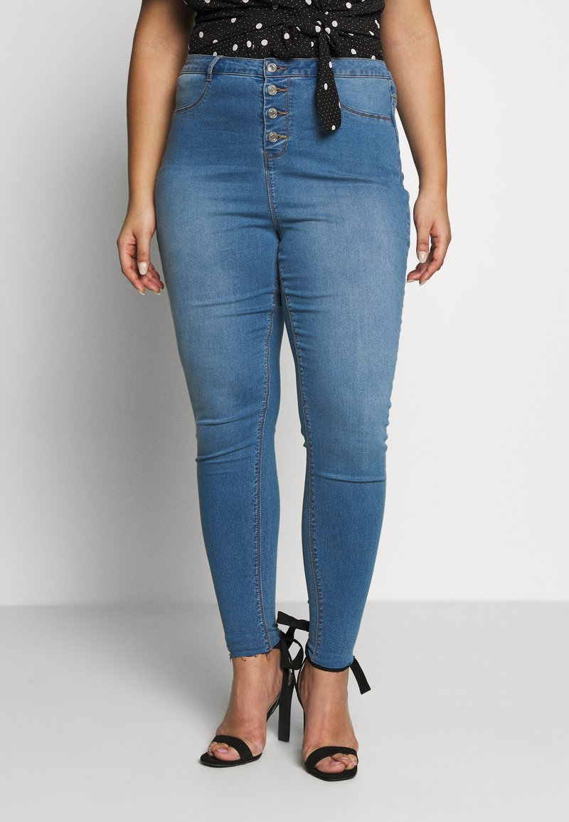 Missguided Plus - BUTTON FRONT LAWLESS - Jeans Skinny - blue