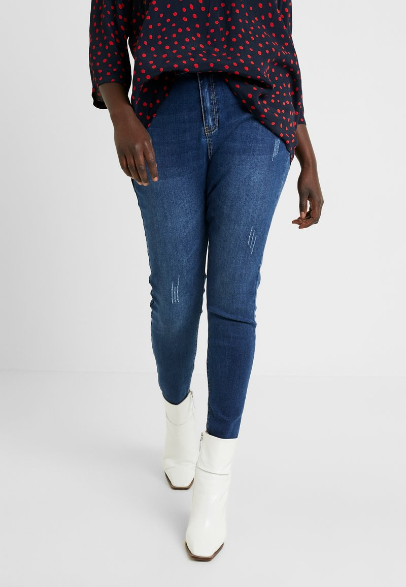 Missguided Plus - SINNER HIGH WAISTED SEAM DETAIL - Jeans Skinny - blue