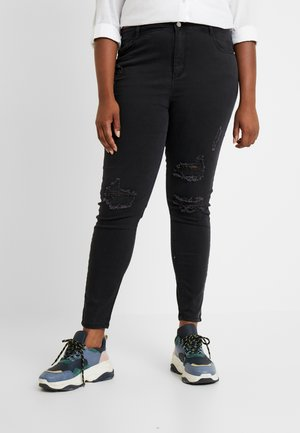 CURVE HIGHWAISTED AUTHENTIC RIPPED - Skinny džíny - black