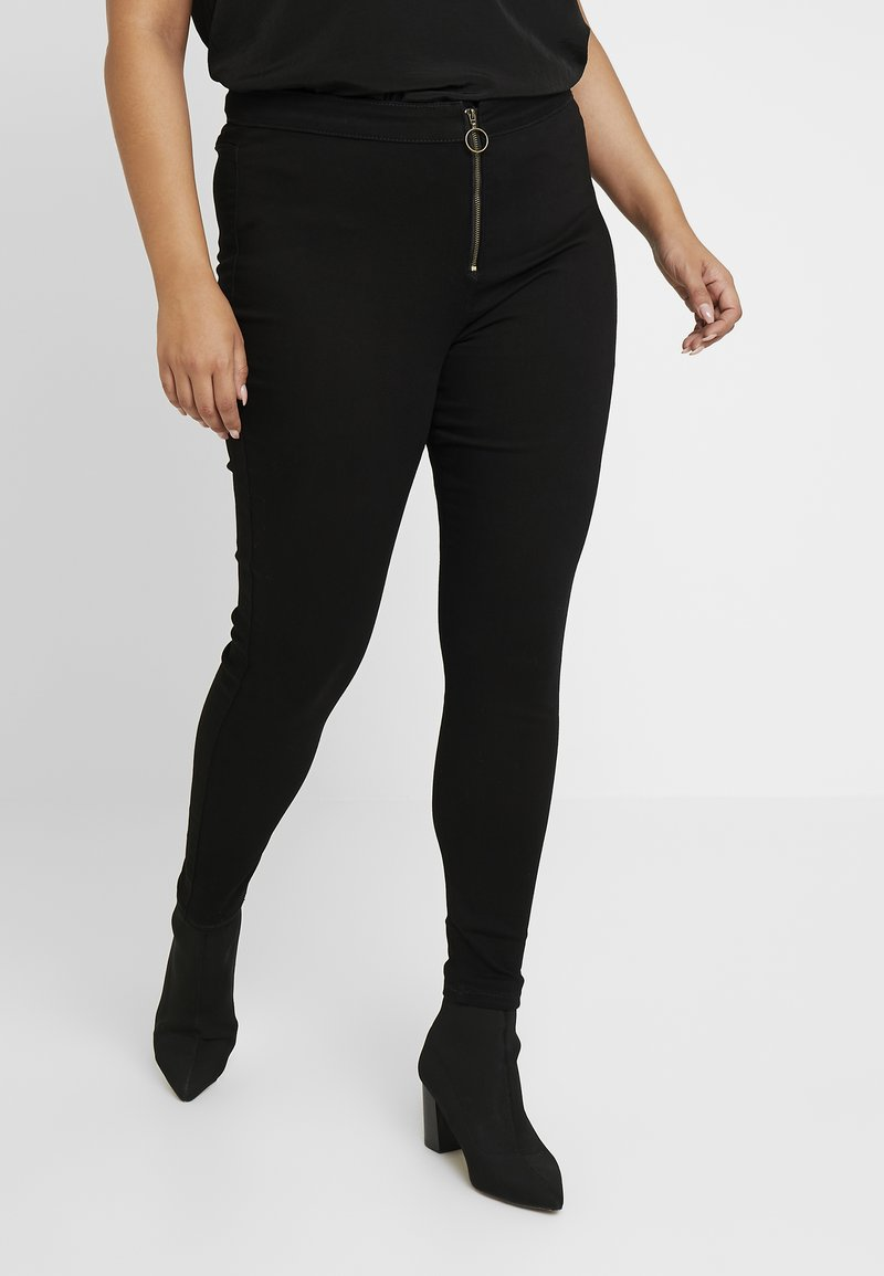 Missguided Plus - RING ZIP OUTLAW - Jegging - black