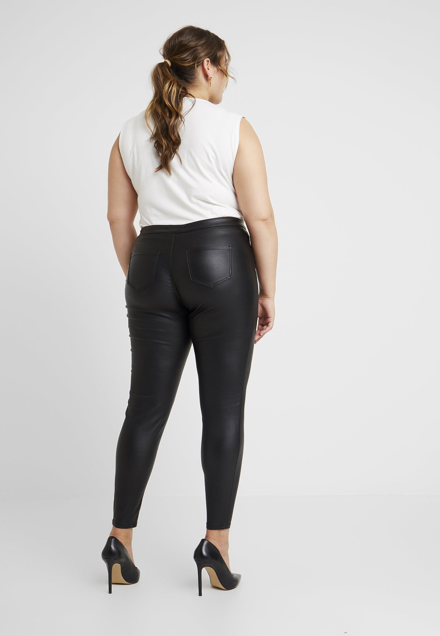 Missguided Plus CURVE VICE HIGH WAISTED COATED - Pantaloni black