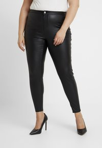 Missguided Plus - CURVE VICE HIGH WAISTED COATED - Pantalones - black - 0